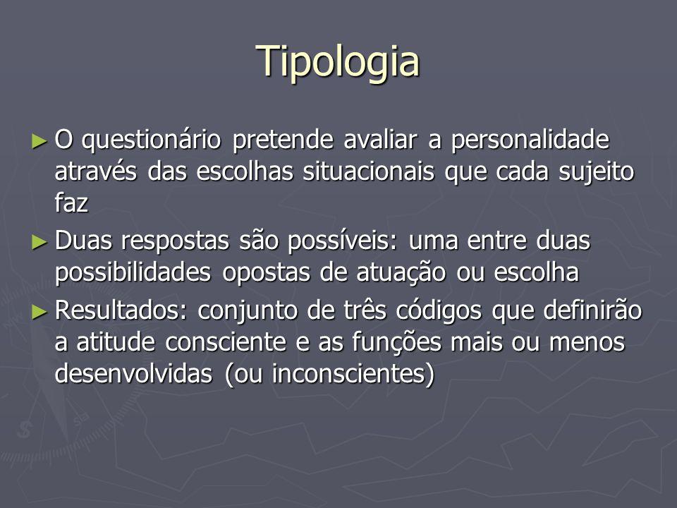 Tipologia O questionário pretende avaliar a personalidade através das escolhas situacionais que cada sujeito faz O questionário pretende avaliar a per