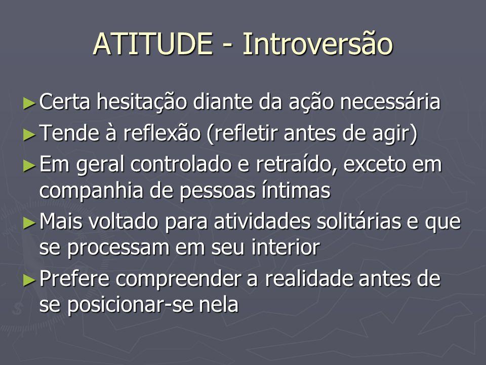 ATITUDE - Introversão Certa hesitação diante da ação necessária Certa hesitação diante da ação necessária Tende à reflexão (refletir antes de agir) Te