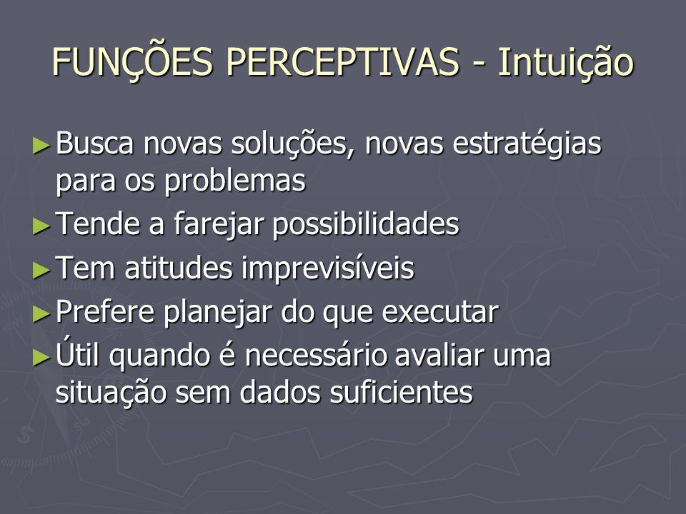 FUNÇÕES PERCEPTIVAS - Intuição Busca novas soluções, novas estratégias para os problemas Busca novas soluções, novas estratégias para os problemas Ten