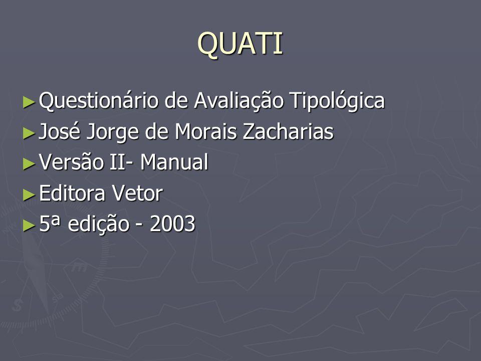 QUATI Questionário de Avaliação Tipológica Questionário de Avaliação Tipológica José Jorge de Morais Zacharias José Jorge de Morais Zacharias Versão I