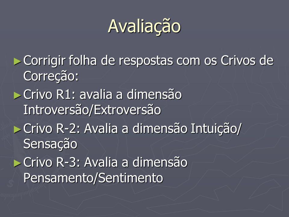 Avaliação Corrigir folha de respostas com os Crivos de Correção: Corrigir folha de respostas com os Crivos de Correção: Crivo R1: avalia a dimensão Introversão/Extroversão Crivo R1: avalia a dimensão Introversão/Extroversão Crivo R-2: Avalia a dimensão Intuição/ Sensação Crivo R-2: Avalia a dimensão Intuição/ Sensação Crivo R-3: Avalia a dimensão Pensamento/Sentimento Crivo R-3: Avalia a dimensão Pensamento/Sentimento