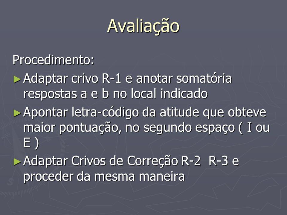 Avaliação Procedimento: Adaptar crivo R-1 e anotar somatória respostas a e b no local indicado Adaptar crivo R-1 e anotar somatória respostas a e b no