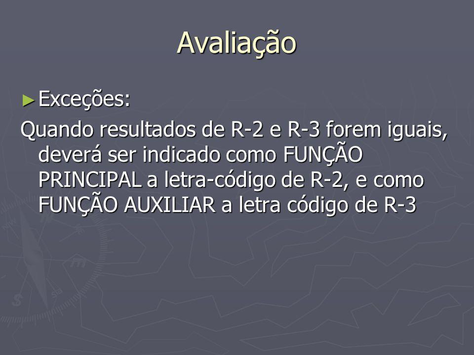 Avaliação Exceções: Exceções: Quando resultados de R-2 e R-3 forem iguais, deverá ser indicado como FUNÇÃO PRINCIPAL a letra-código de R-2, e como FUNÇÃO AUXILIAR a letra código de R-3