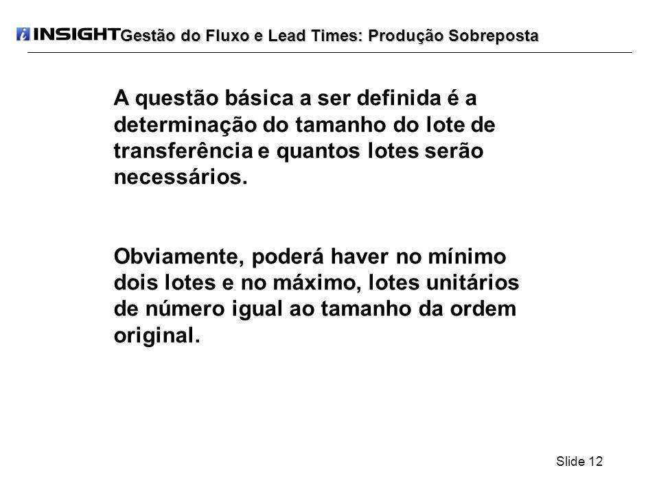 Slide 12 Gestão do Fluxo e Lead Times: Produção Sobreposta A questão básica a ser definida é a determinação do tamanho do lote de transferência e quan