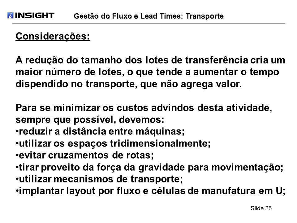 Slide 25 Gestão do Fluxo e Lead Times: Transporte Considerações: A redução do tamanho dos lotes de transferência cria um maior número de lotes, o que