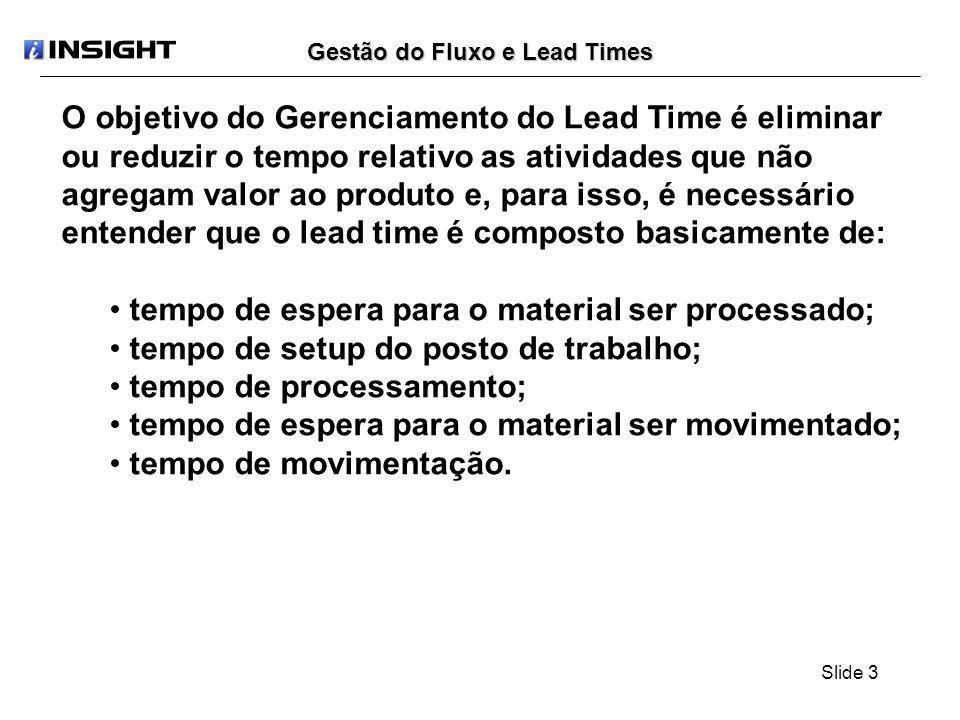 Slide 24 Gestão do Fluxo e Lead Times: Produção por Fluxo Produção por Fluxo É uma extensão da produção por sobreposição onde o lote de transferência é unitário, ou seja, quando ocorrer a máxima sobreposição de operações.