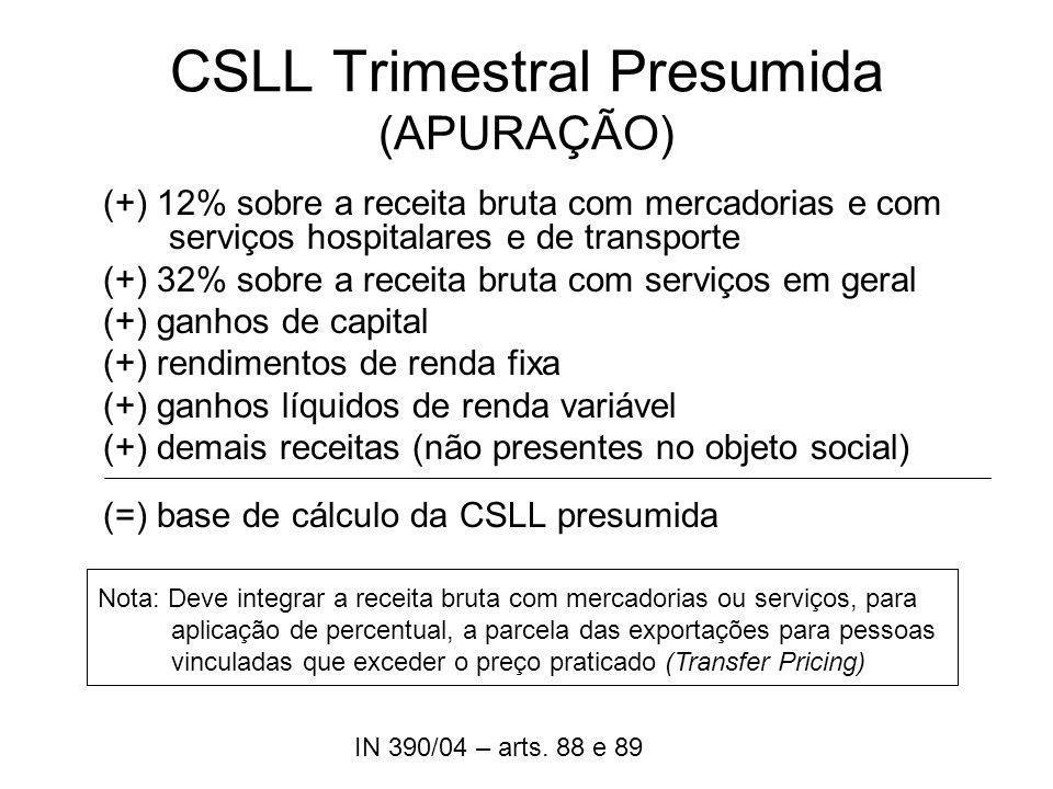 CSLL Trimestral Presumida (APURAÇÃO) (+) 12% sobre a receita bruta com mercadorias e com serviços hospitalares e de transporte (+) 32% sobre a receita