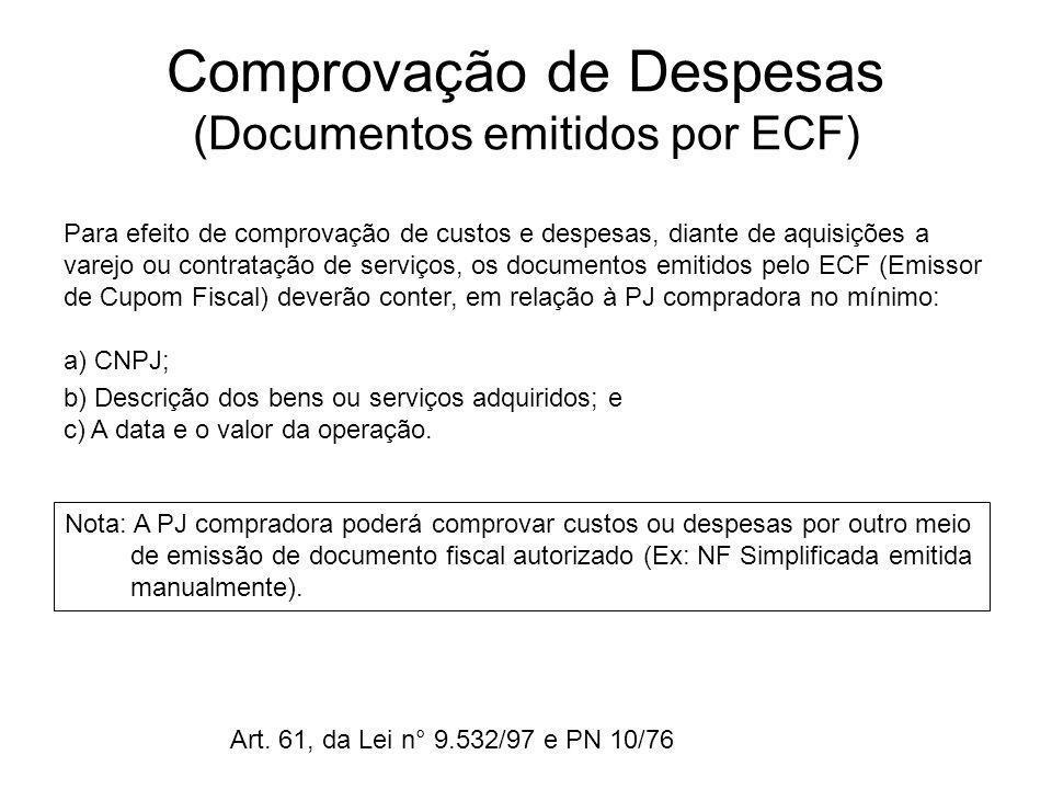 Comprovação de Despesas (Documentos emitidos por ECF) Para efeito de comprovação de custos e despesas, diante de aquisições a varejo ou contratação de