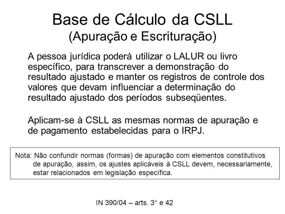 Base de Cálculo da CSLL (Apuração e Escrituração) A pessoa jurídica poderá utilizar o LALUR ou livro específico, para transcrever a demonstração do re