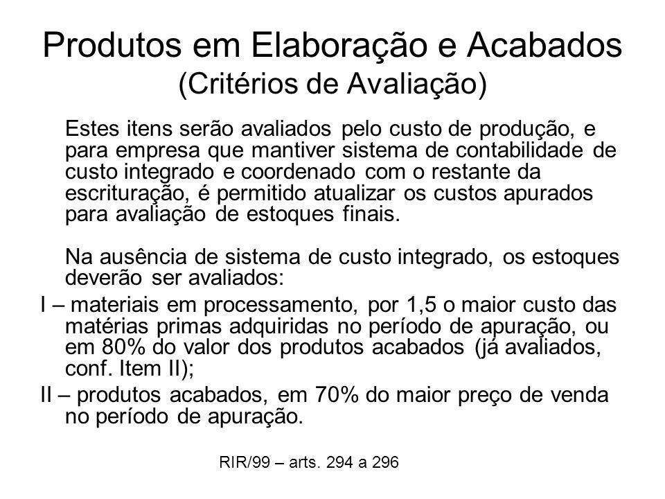 Produtos em Elaboração e Acabados (Critérios de Avaliação) Estes itens serão avaliados pelo custo de produção, e para empresa que mantiver sistema de