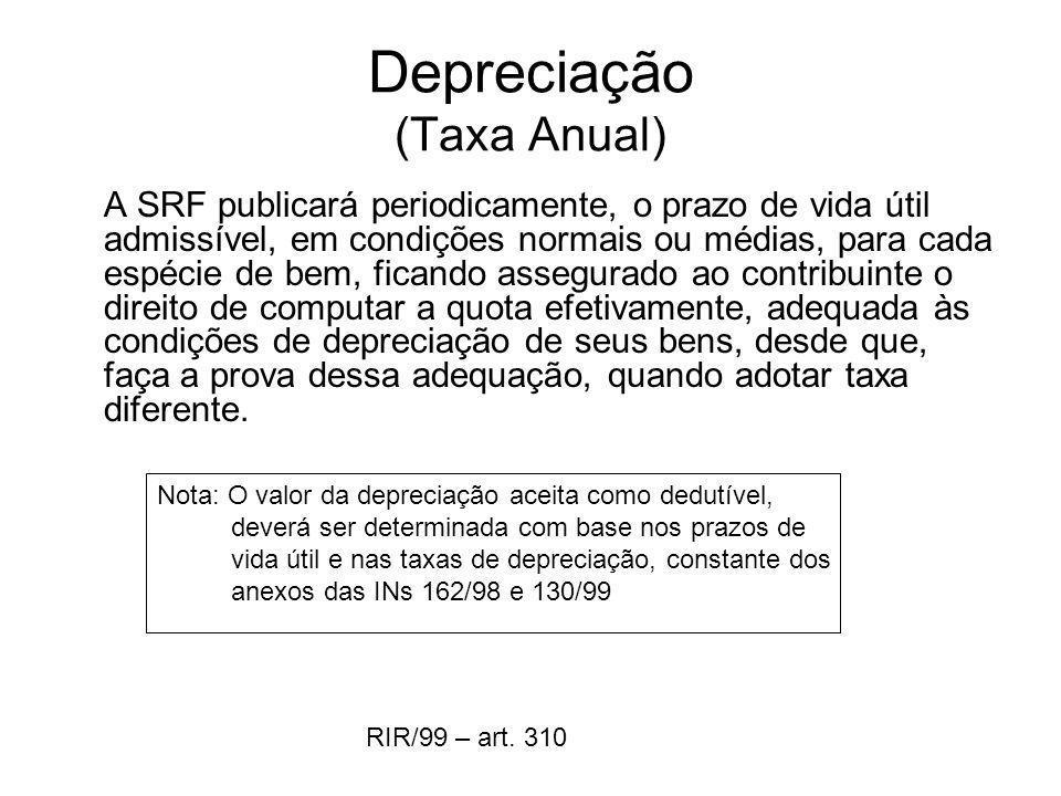 Depreciação (Taxa Anual) A SRF publicará periodicamente, o prazo de vida útil admissível, em condições normais ou médias, para cada espécie de bem, fi