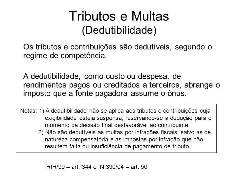 Tributos e Multas (Dedutibilidade) Os tributos e contribuições são dedutíveis, segundo o regime de competência. A dedutibilidade, como custo ou despes