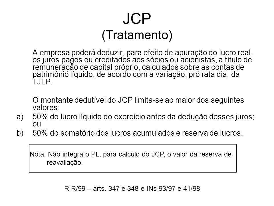 JCP (Tratamento) A empresa poderá deduzir, para efeito de apuração do lucro real, os juros pagos ou creditados aos sócios ou acionistas, a título de r