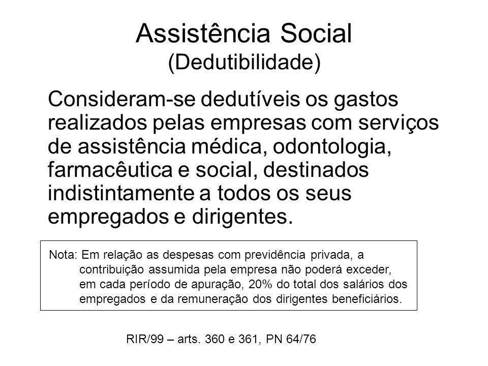 Assistência Social (Dedutibilidade) Consideram-se dedutíveis os gastos realizados pelas empresas com serviços de assistência médica, odontologia, farm