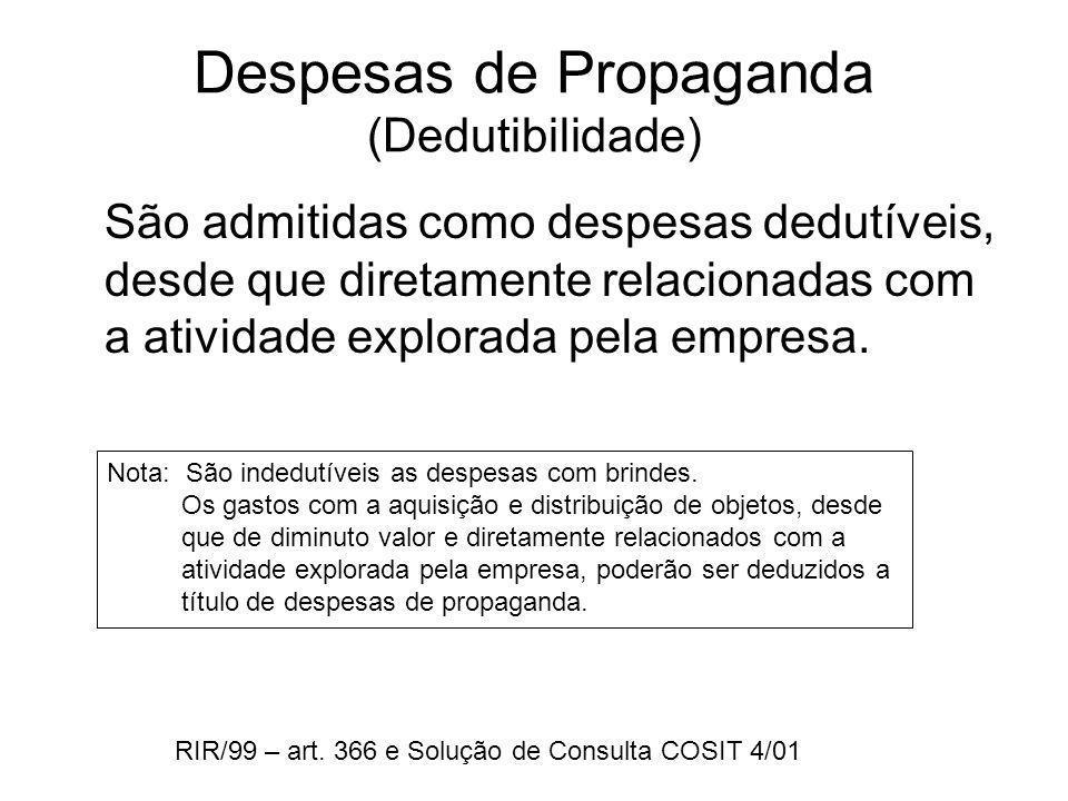 Despesas de Propaganda (Dedutibilidade) São admitidas como despesas dedutíveis, desde que diretamente relacionadas com a atividade explorada pela empr