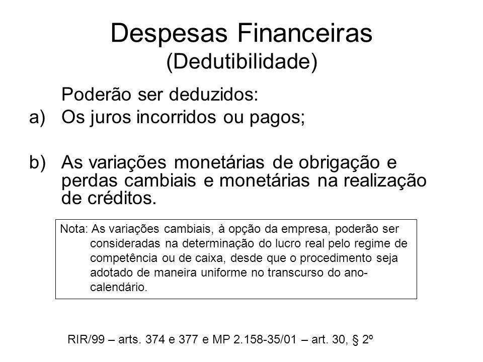 Despesas Financeiras (Dedutibilidade) Poderão ser deduzidos: a)Os juros incorridos ou pagos; b)As variações monetárias de obrigação e perdas cambiais