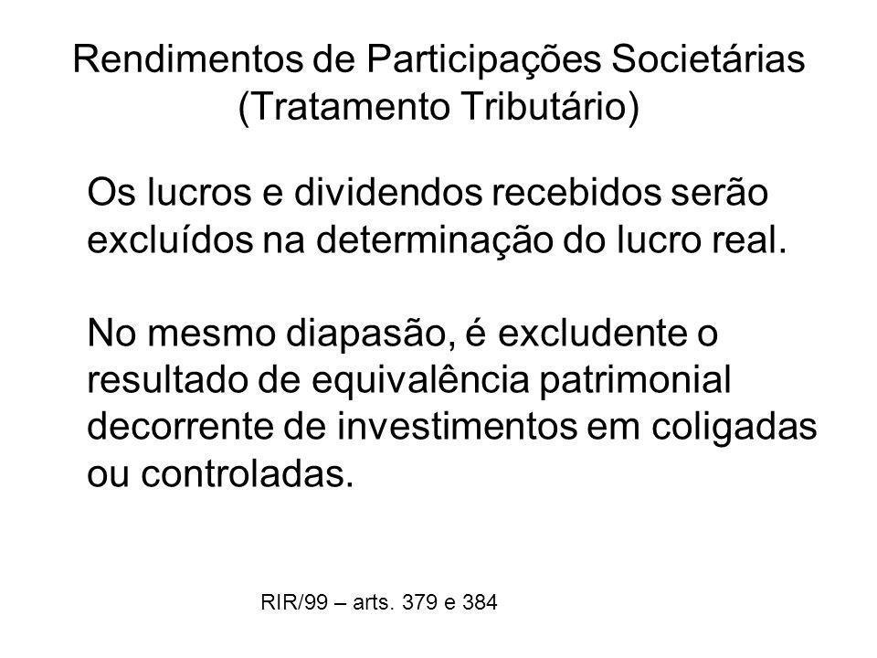 Rendimentos de Participações Societárias (Tratamento Tributário) Os lucros e dividendos recebidos serão excluídos na determinação do lucro real. No me