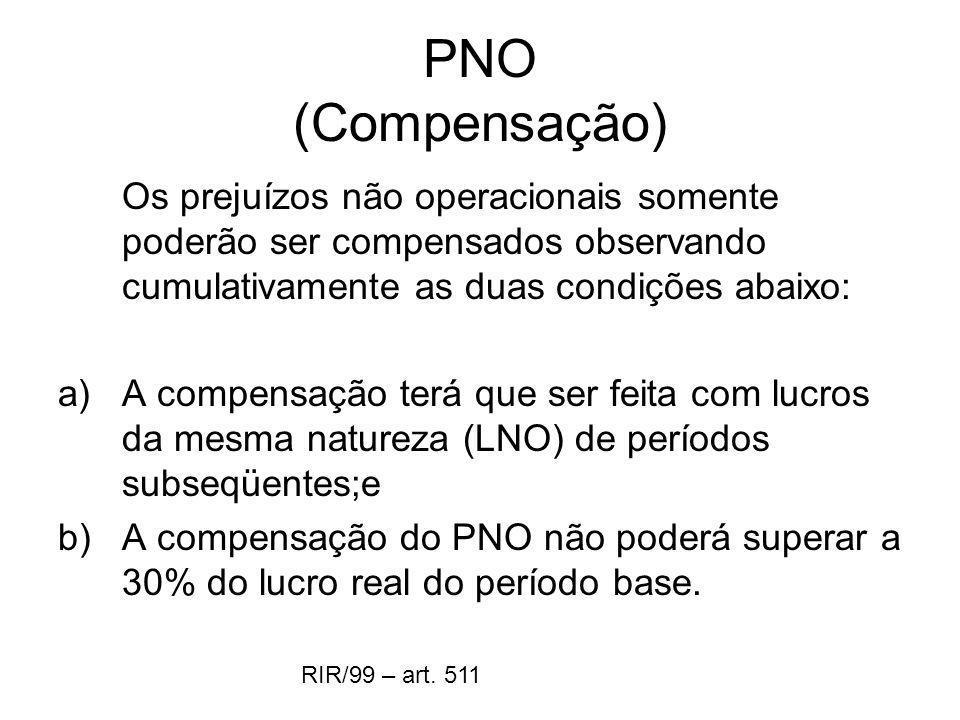 PNO (Compensação) Os prejuízos não operacionais somente poderão ser compensados observando cumulativamente as duas condições abaixo: a)A compensação t