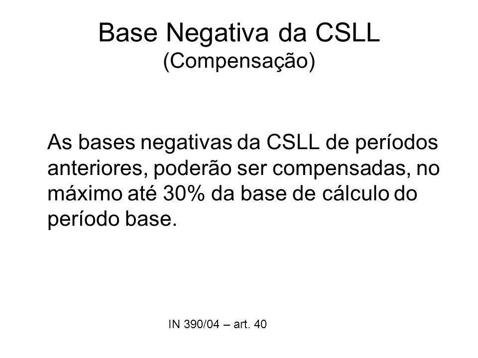 Base Negativa da CSLL (Compensação) As bases negativas da CSLL de períodos anteriores, poderão ser compensadas, no máximo até 30% da base de cálculo d