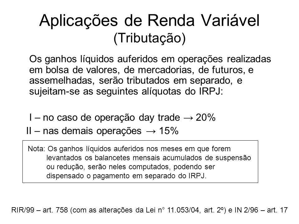 Aplicações de Renda Variável (Tributação) Os ganhos líquidos auferidos em operações realizadas em bolsa de valores, de mercadorias, de futuros, e asse