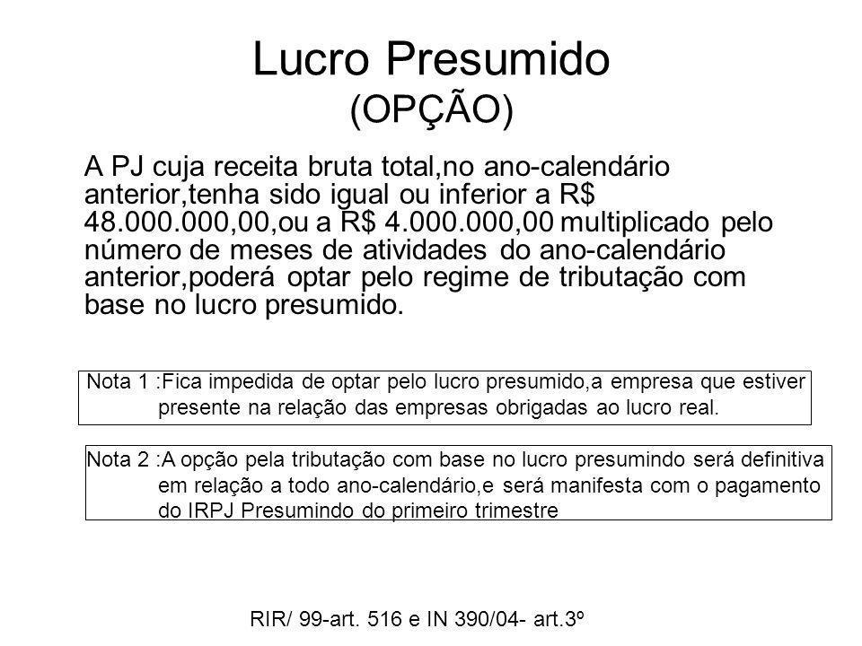 Lucro Presumido (OPÇÃO) A PJ cuja receita bruta total,no ano-calendário anterior,tenha sido igual ou inferior a R$ 48.000.000,00,ou a R$ 4.000.000,00