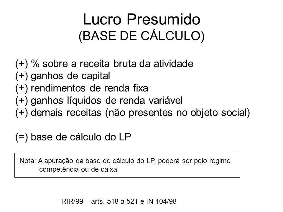 Lucro Presumido (BASE DE CÁLCULO) (+) % sobre a receita bruta da atividade (+) ganhos de capital (+) rendimentos de renda fixa (+) ganhos líquidos de