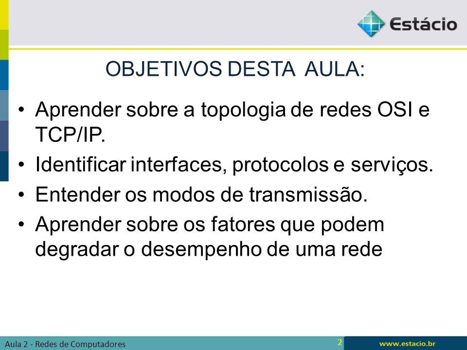 2 Aprender sobre a topologia de redes OSI e TCP/IP. Identificar interfaces, protocolos e serviços. Entender os modos de transmissão. Aprender sobre os