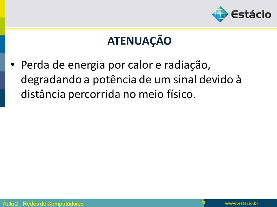 21 Perda de energia por calor e radiação, degradando a potência de um sinal devido à distância percorrida no meio físico. ATENUAÇÃO Aula 2 - Redes de