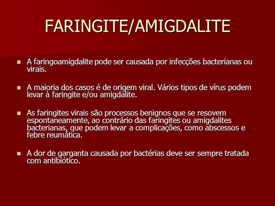 FARINGITE/AMIGDALITE A faringoamigdalite pode ser causada por infecções bacterianas ou virais.