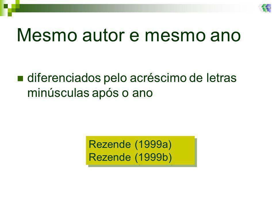 Mesmo autor e mesmo ano Rezende (1999a) Rezende (1999b) Rezende (1999a) Rezende (1999b) diferenciados pelo acréscimo de letras minúsculas após o ano