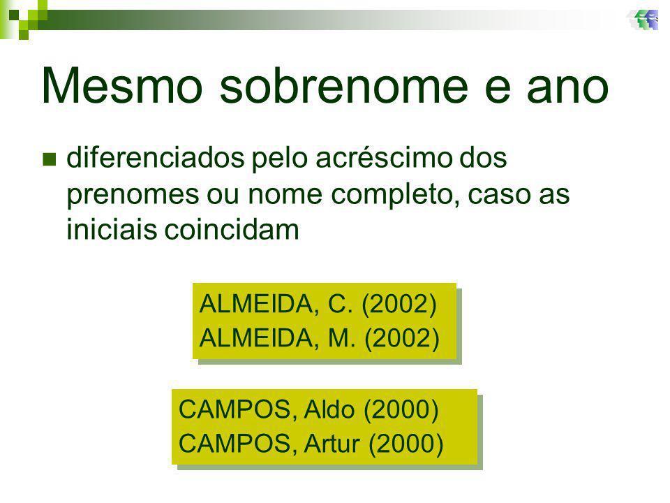 Mesmo sobrenome e ano ALMEIDA, C.(2002) ALMEIDA, M.