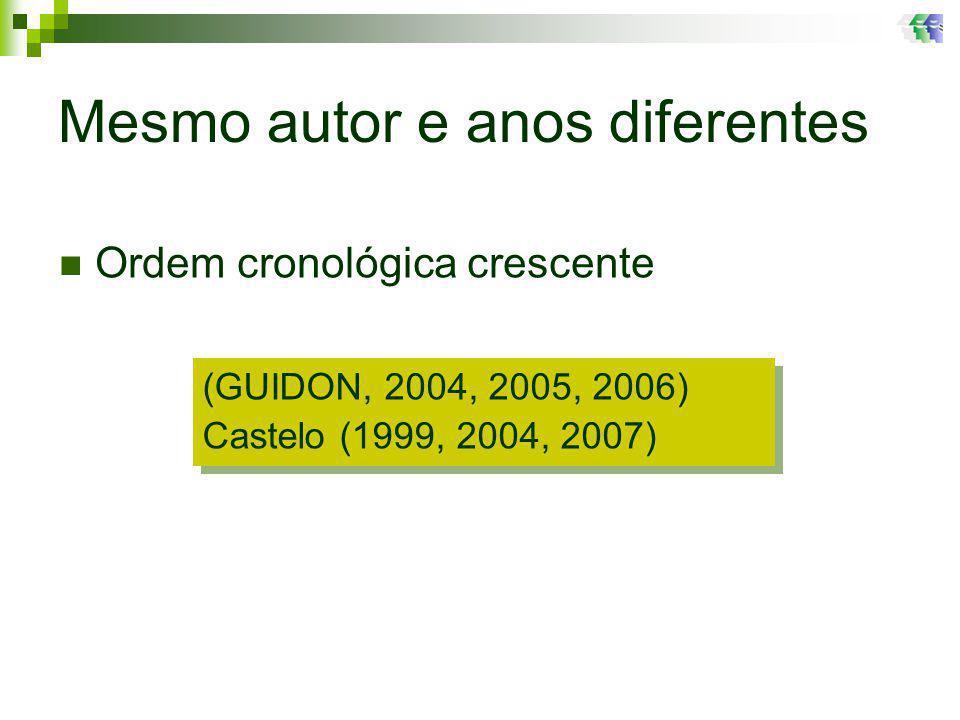 Mesmo autor e anos diferentes (GUIDON, 2004, 2005, 2006) Castelo (1999, 2004, 2007) (GUIDON, 2004, 2005, 2006) Castelo (1999, 2004, 2007) Ordem cronológica crescente
