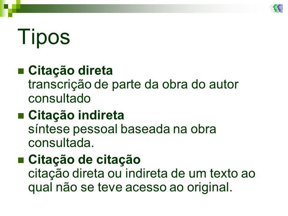 Instituições 1ª Vez (EMPRESA BRASILEIRA DE PESQUISA AGROPECUÁRIA – EMBRAPA, 2005) 1ª Vez (EMPRESA BRASILEIRA DE PESQUISA AGROPECUÁRIA – EMBRAPA, 2005) Primeira vez que forem citadas, por extenso a partir da segunda vez usar siglas A partir da 2ª vez (EMBRAPA, 2005) A partir da 2ª vez (EMBRAPA, 2005)