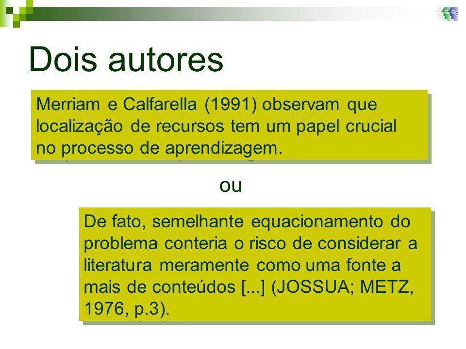 Dois autores ou Merriam e Calfarella (1991) observam que localização de recursos tem um papel crucial no processo de aprendizagem.