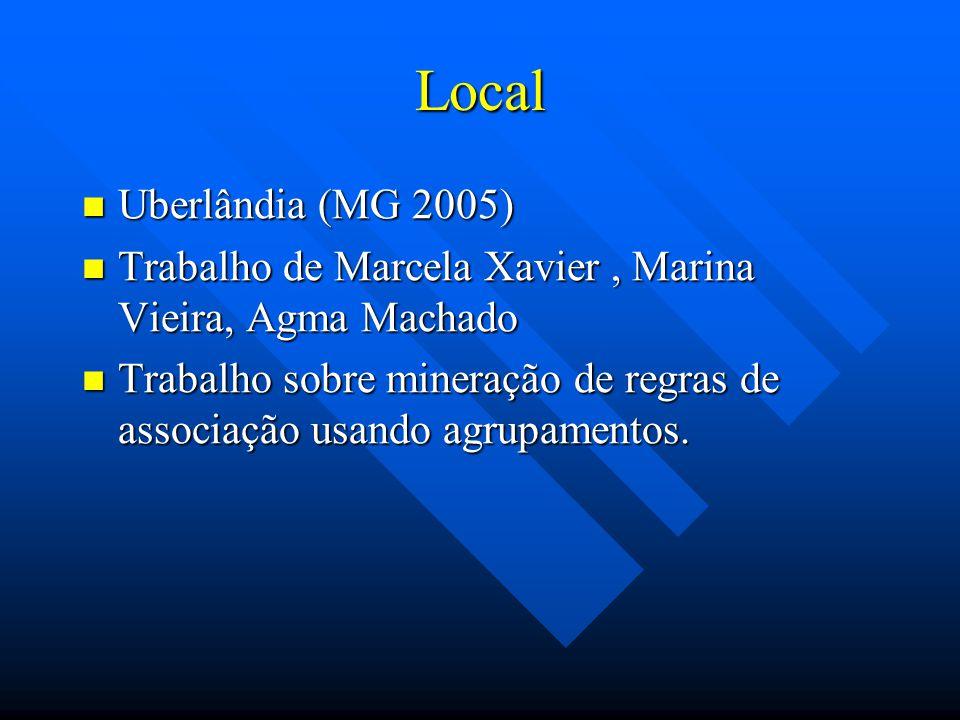 Local Uberlândia (MG 2005) Uberlândia (MG 2005) Trabalho de Marcela Xavier, Marina Vieira, Agma Machado Trabalho de Marcela Xavier, Marina Vieira, Agm