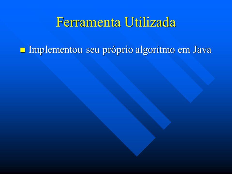 Ferramenta Utilizada Implementou seu próprio algoritmo em Java Implementou seu próprio algoritmo em Java