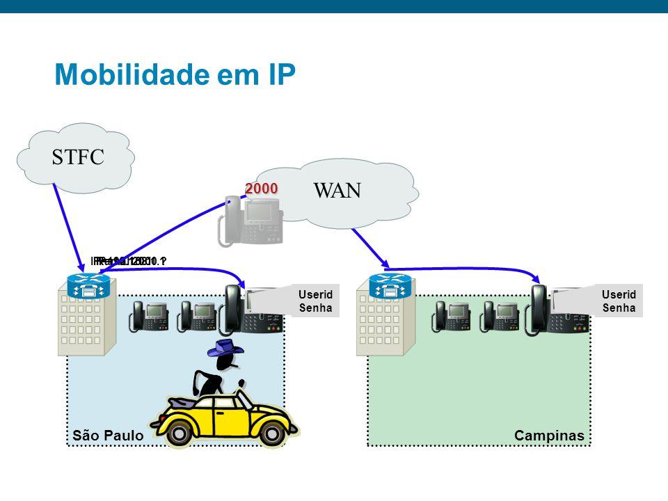 Mobilidade em IP Diretório único para administração Registro dinâmico dos telefones Alimentação via cabo ethernet (PoE) Configuração de VLAN e QoS End