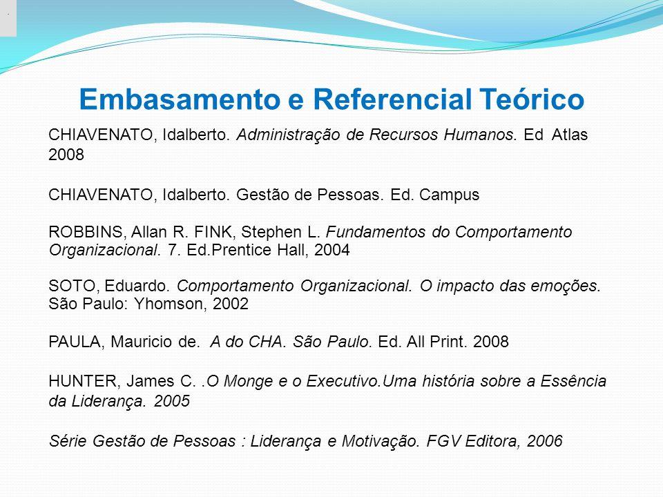 Embasamento e Referencial Teórico. CHIAVENATO, Idalberto. Administração de Recursos Humanos. Ed Atlas 2008 CHIAVENATO, Idalberto. Gestão de Pessoas. E