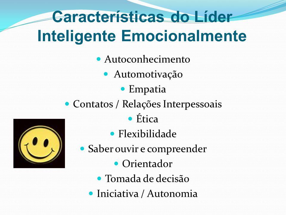 Características do Líder Inteligente Emocionalmente Autoconhecimento Automotivação Empatia Contatos / Relações Interpessoais Ética Flexibilidade Saber