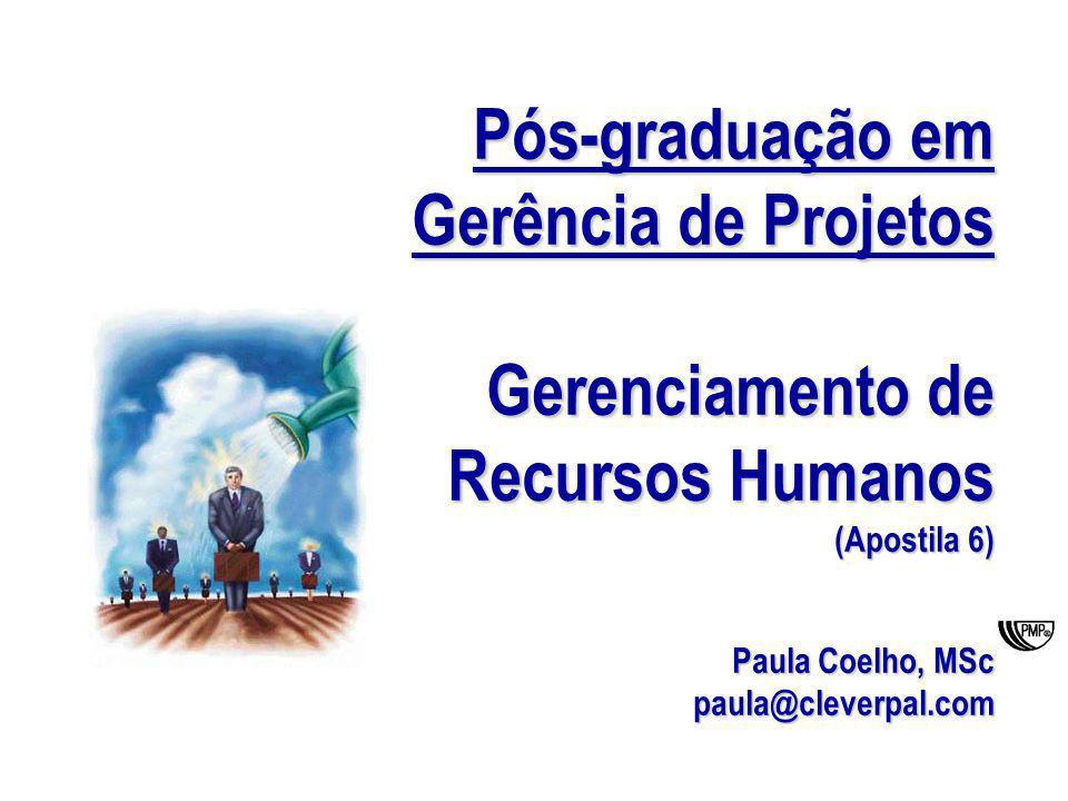 Pós-graduação em Gerência de Projetos Gerenciamento de Recursos Humanos (Apostila 6) Paula Coelho, MSc paula@cleverpal.com