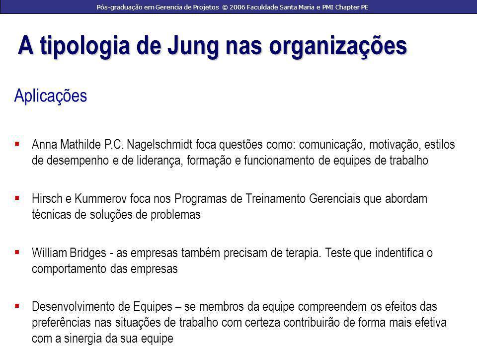 Pós-graduação em Gerencia de Projetos © 2006 Faculdade Santa Maria e PMI Chapter PE A tipologia de Jung nas organizações Aplicações Anna Mathilde P.C.
