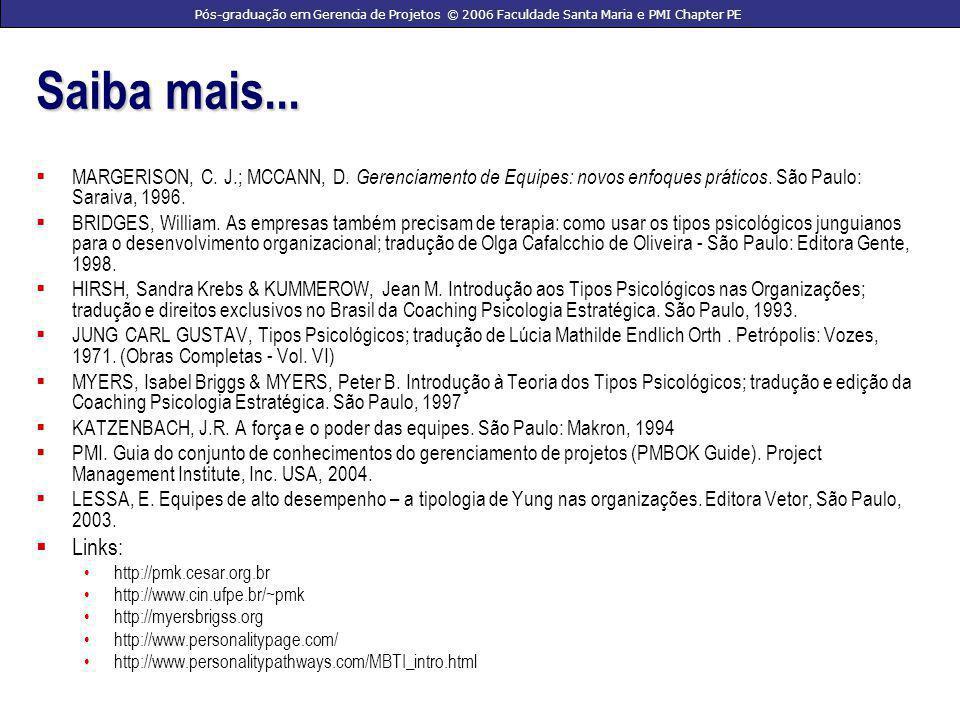 Pós-graduação em Gerencia de Projetos © 2006 Faculdade Santa Maria e PMI Chapter PE Saiba mais...