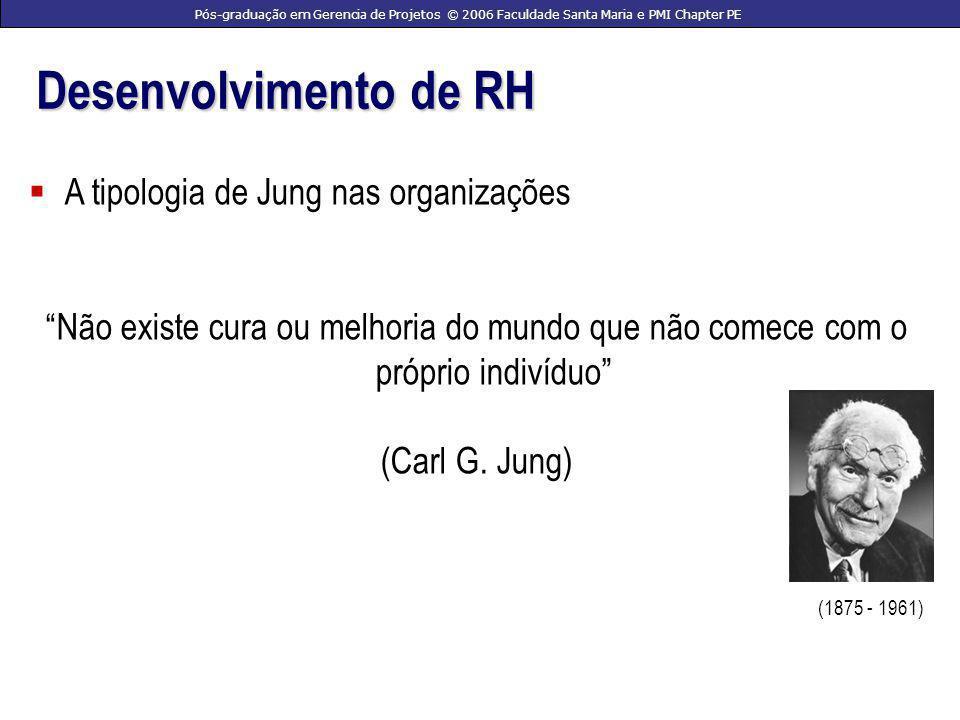 Pós-graduação em Gerencia de Projetos © 2006 Faculdade Santa Maria e PMI Chapter PE Desenvolvimento de RH A tipologia de Jung nas organizações Não existe cura ou melhoria do mundo que não comece com o próprio indivíduo (Carl G.