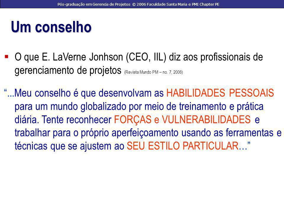 Pós-graduação em Gerencia de Projetos © 2006 Faculdade Santa Maria e PMI Chapter PE Como.