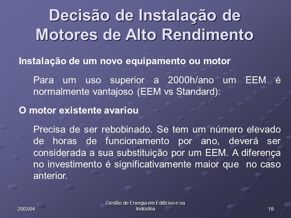 192003/04 Gestão de Energia em Edifícios e na Indústria Decisão de Instalação de Motores de Alto Rendimento Instalação de um novo equipamento ou motor