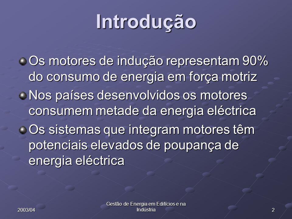 22003/04 Gestão de Energia em Edifícios e na Indústria Introdução Os motores de indução representam 90% do consumo de energia em força motriz Nos país