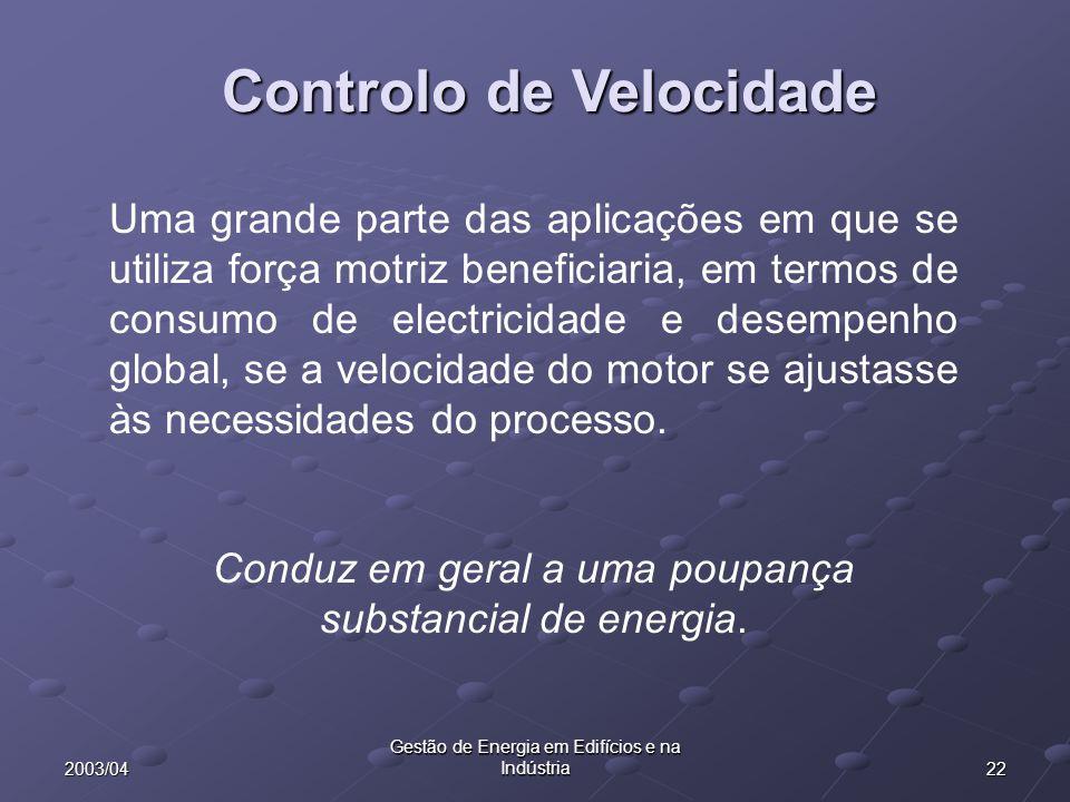 222003/04 Gestão de Energia em Edifícios e na Indústria Controlo de Velocidade Uma grande parte das aplicações em que se utiliza força motriz benefici
