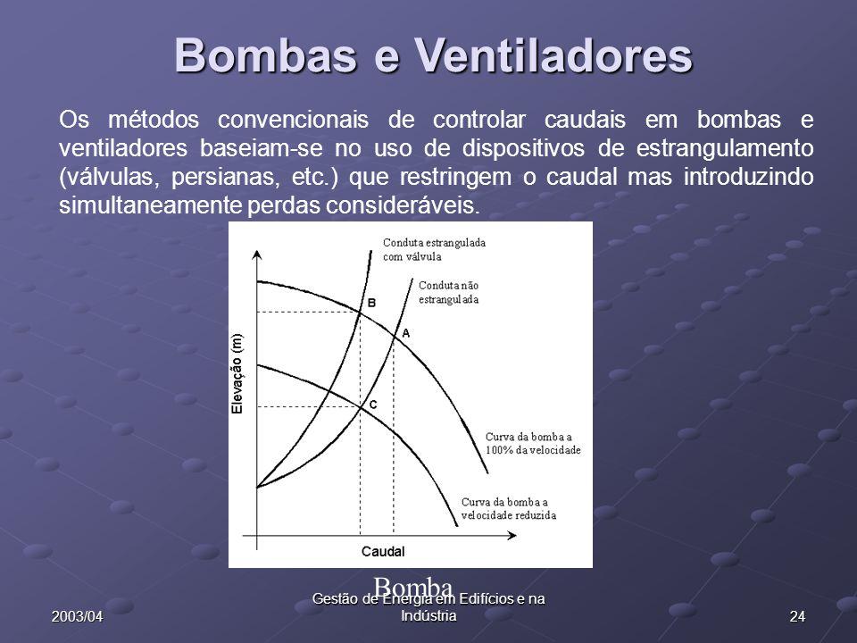 242003/04 Gestão de Energia em Edifícios e na Indústria Bombas e Ventiladores Os métodos convencionais de controlar caudais em bombas e ventiladores b