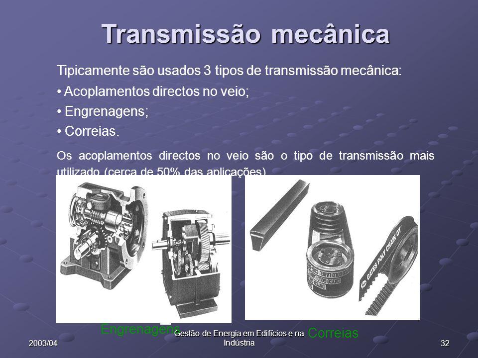 322003/04 Gestão de Energia em Edifícios e na Indústria (a) (c) (d) (e) (b) Transmissão mecânica Tipicamente são usados 3 tipos de transmissão mecânic