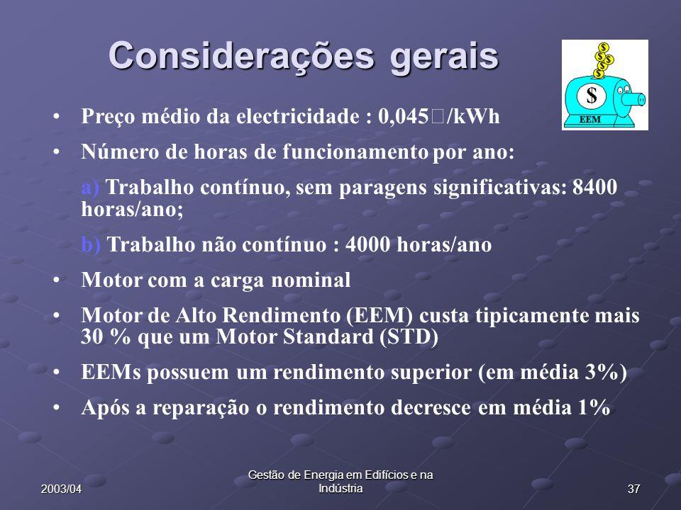 372003/04 Gestão de Energia em Edifícios e na Indústria Preço médio da electricidade : 0,045€/kWh Número de horas de funcionamento por ano: a) Trabalh